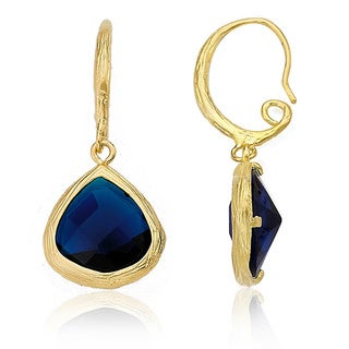 Riccova Arctic Mist Brushed 14k Goldplated Blue GlassTeardrop Dangle Earrings
