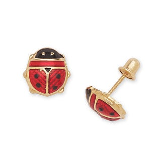 14k Yellow Gold Enamel Ladybug Screw-back Stud Earrings