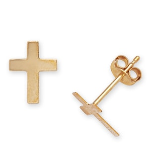 14k Yellow Gold Children's Cross Stamping Stud Earrings