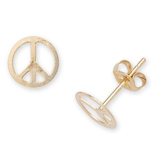 14k Yellow Gold Children's Peace Sign Stamping Stud Earrings
