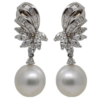 Kabella Luxe Vintage 18k Gold 7/8ct TDW Diamond Bow South Sea Pearl Dangle Estate Earrings (H-I, SI1-SI2) (12-13 mm)