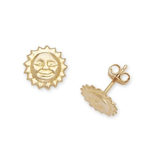 14k Yellow Gold Children's Sun Stamping Stud Earrings