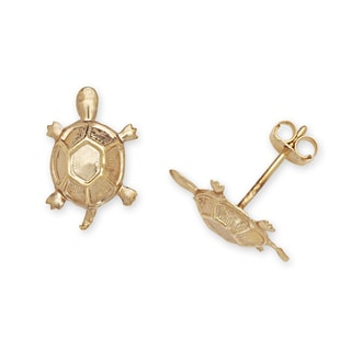 14k Yellow Gold Children's Turtle Stamping Stud Earrings
