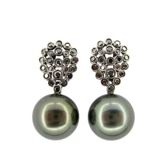 Kabella Luxe Vintage 18k Black Gold 7/8ct TDW Black Diamond Tahitian Pearl Dangle Estate Earrings (12-13 mm)
