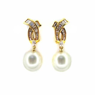 Kabella Luxe Vintage 18k Gold 1 1/6ct TDW Diamond X South Sea Pearl Dangle Estate Earring (H-I, I1-I2) (12-13 mm)