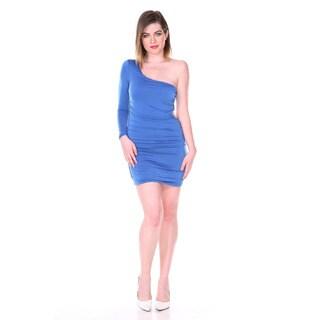 Stanzino Women's Blue Single-shoulder Stretch Party Dress
