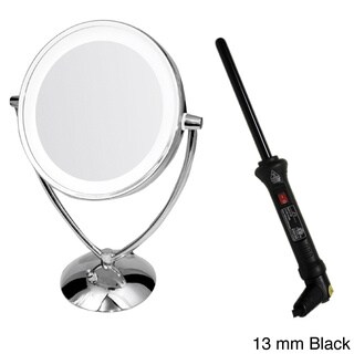 Ovente 1x/10x Dual-sided Round Mirror with Curling Iron