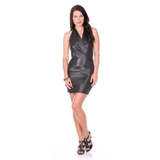 Stanzino Women's Black Halter Mini Party Dress
