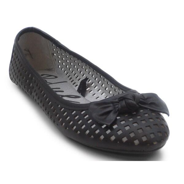 Blue Women's 'Skink J' Black Perforated Almond-toe Flats