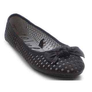 Blue Women's 'Skink J' Black Perforated Almond-toe Flats