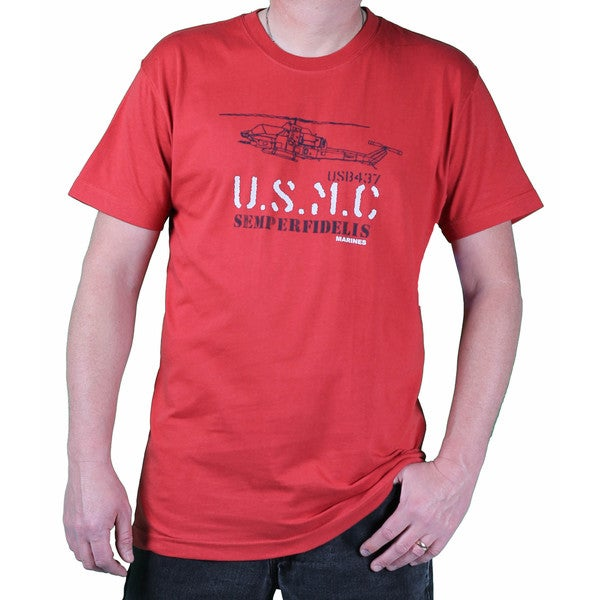 USMC Men's Sunset Red Helicopter Printed Tee