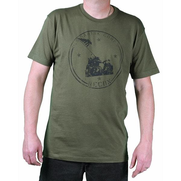 USMC Men's Fatigue Green Iwo Jima Printed Tee