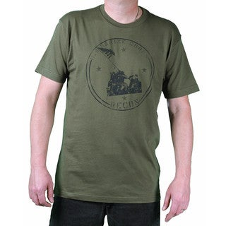 USMC Men's Fatigue Green Iwo Jima Printed Tee