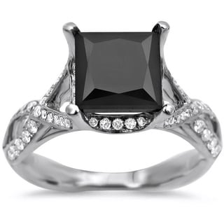 18k White Gold 2 2/5ct TDW Black Diamond Engagement Ring (VS1-VS2)