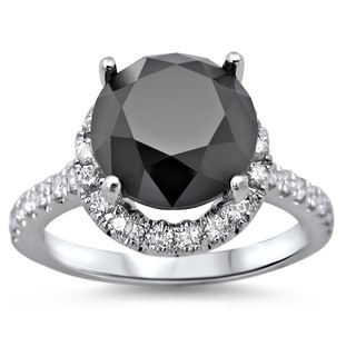 Noori 18k White Gold 4 1/2ct TDW Black Round Diamond Engagement Ring (SI1-SI2)