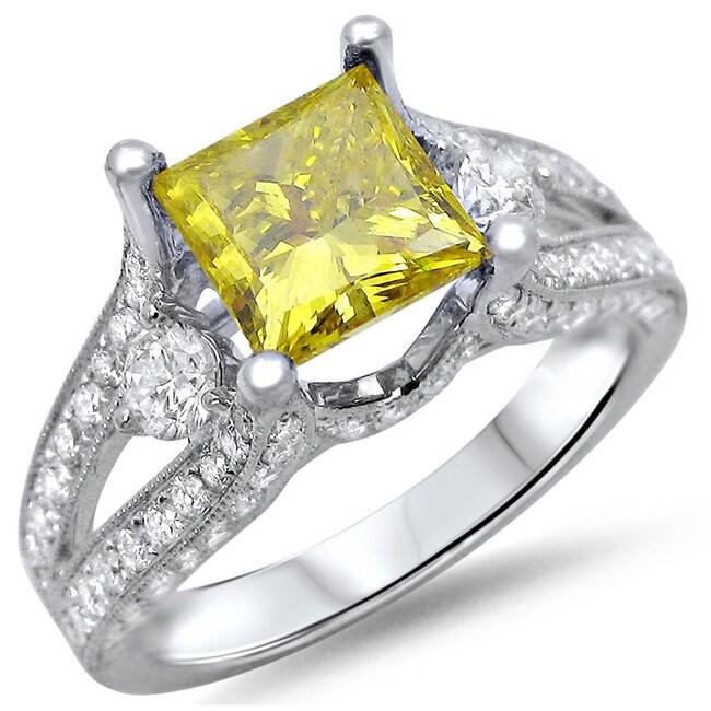 Noori Collection Noori 18k White Gold 2ct TDW Canary Yellow Princess-cut Diamond Ring (F-G SI1-SI2)