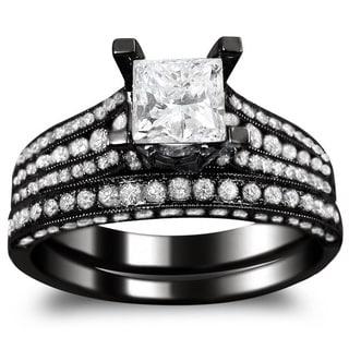 Noori 14k Black Gold 2 1/10ct TDW Princess-cut Clarity Enhanced Black and White Diamond Bridal Ring Set (G