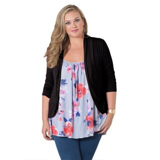 Sealed With a Kiss Women's Plus Size 'Amber' Black 3/4-sleeve Shrug