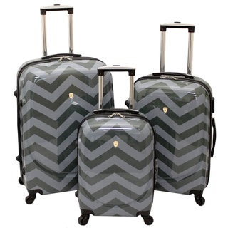 Dejuno Grey Chevron Zig Zag 3-piece Hardside Spinner Luggage Set