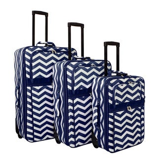 World Traveler Blue Chevron Zig-zag 3-piece Expandable Upright Luggage Set