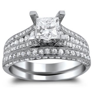 14k White Gold 2 1/10ct TDW Princess-cut Clarity Enhanced Diamond Engagement Ring Bridal Set (G-H, SI1-SI2)