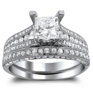 14k White Gold 2 1/10ct TDW Princess-cut Clarity Enhanced Diamond Bridal Ring Set (G-H, SI1-SI2)