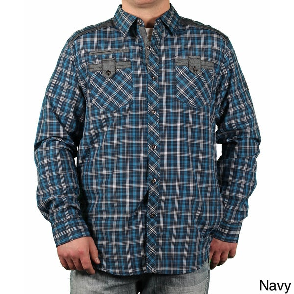 MO7 Men's Plaid Button-down Collared Shirt