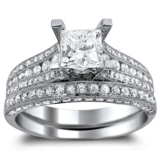 14k White Gold 2 1/10ct TDW Princess-cut Diamond Engagement Ring Bridal Set (G-H, SI1-SI2)
