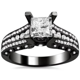 Noori 14k Black Gold 1 2/5ct TDW Princess-cut Clarity Enhanced Diamond Engagement Ring (G-H, SI1-SI2)