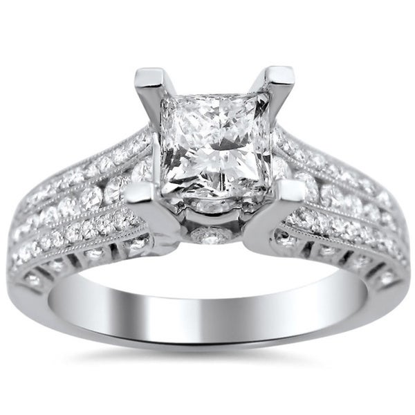 Noori 14k White Gold 1 2/5ct TDW Princess-cut Clarity Enhanced Diamond Engagement Ring (G-H, SI1-SI2)