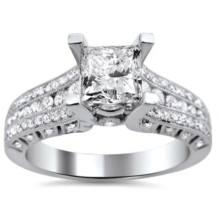 14k White Gold 1 1/2ct TDW Princess Cut Clarity Enhanced Diamond Engagement Ring (G-H, SI1-SI2)