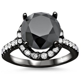 Noori 18k Black Gold 4 1/2ct TDW Black Diamond Engagement Ring (SI1-SI2)