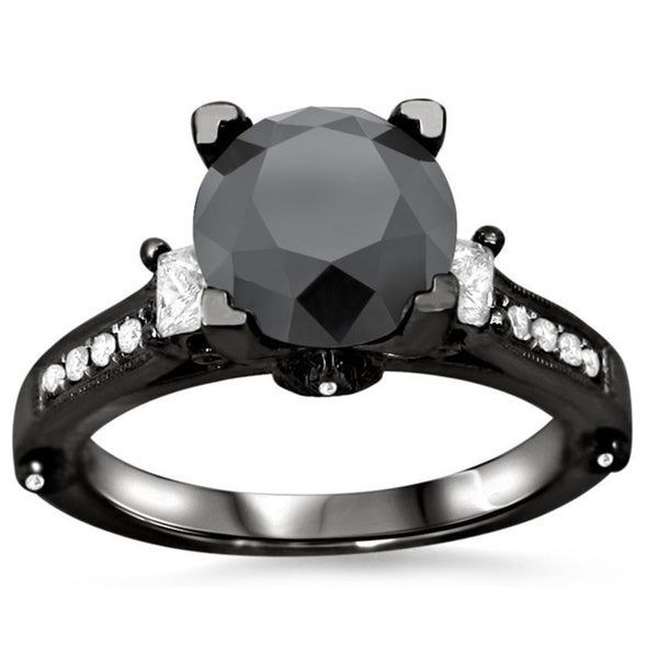 Noori 18k Black Gold 3ct TDW Black Round Diamond Ring
