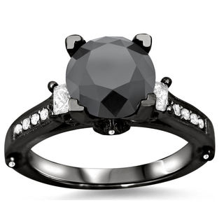 18k Black Gold 3ct TDW Black Round Diamond Ring