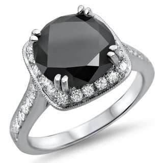 Noori 18k White Gold 3 1/10ct TDW Black Round Diamond Engagement Ring (SI1-SI2)