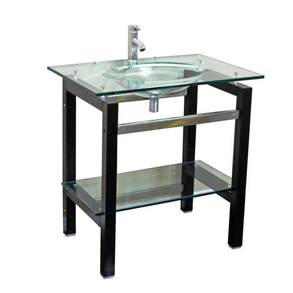 Bathroom Sink Table : ... Glass Top 24-inch Single Sink Bathroom Vanity with Mirror and Faucet