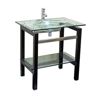 Kokols Tempered Glass Table Top Bathroom Sink Combo with Wood Shelf
