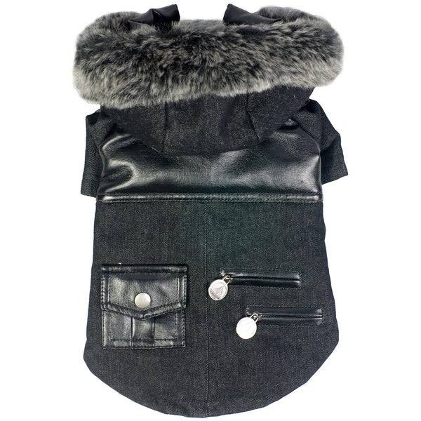 Pet Life Ruff-choppered Denim Pet Coat