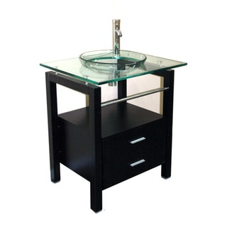 Kokols Free Standing Tempered Glass Sink with Cabinet Drawers