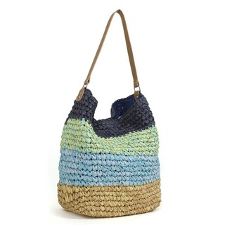 Magid Two-tone Paper Straw Crocheted Hobo Bag