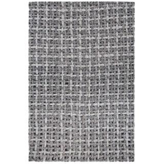 ARTAJUL Handmade Basket Weave Grey Felt Wool Designer Rug
