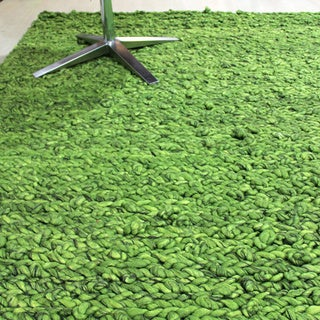 Hand-woven Indo Abstract Knotted Felted Natural Green Grass Rug (6' x 8')