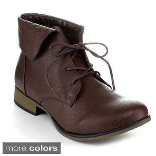 FOREVER CHAPTER-27 Women's Lace Up Ankle Booties