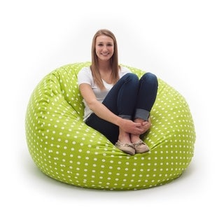 FufSack Memory Foam Polka Dot Green 4-foot Large Bean Bag Lounge Chair