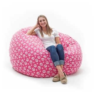 FufSack Memory Foam Peace Sign Pink 4-foot Large Bean Bag Lounge Chair