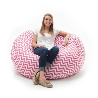 FufSack Memory Foam Chevron Pink 4-foot Large Bean Bag Lounge Chair
