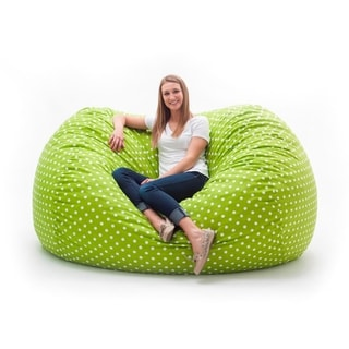 FufSack Memory Foam Polka Dot Green 7-foot XXL Bean Bag Lounge Chair