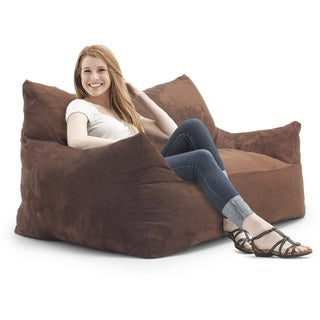 FufSack Memory Foam Imperial Loveseat Brown Microfiber 5-foot Bean Bag