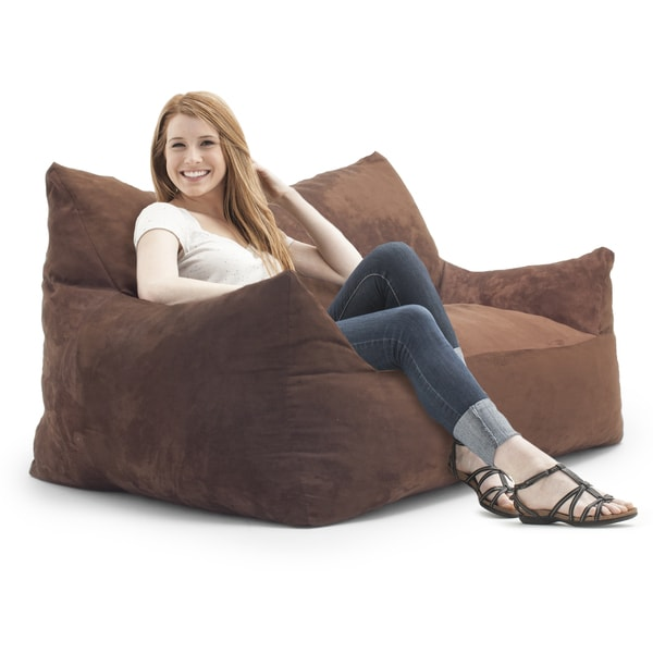 FufSack Memory Foam Imperial Loveseat Brown Microfiber 5 foot Bean Bag 1629