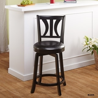 Anderson 24-inch Black Upholstered Swivel Stool